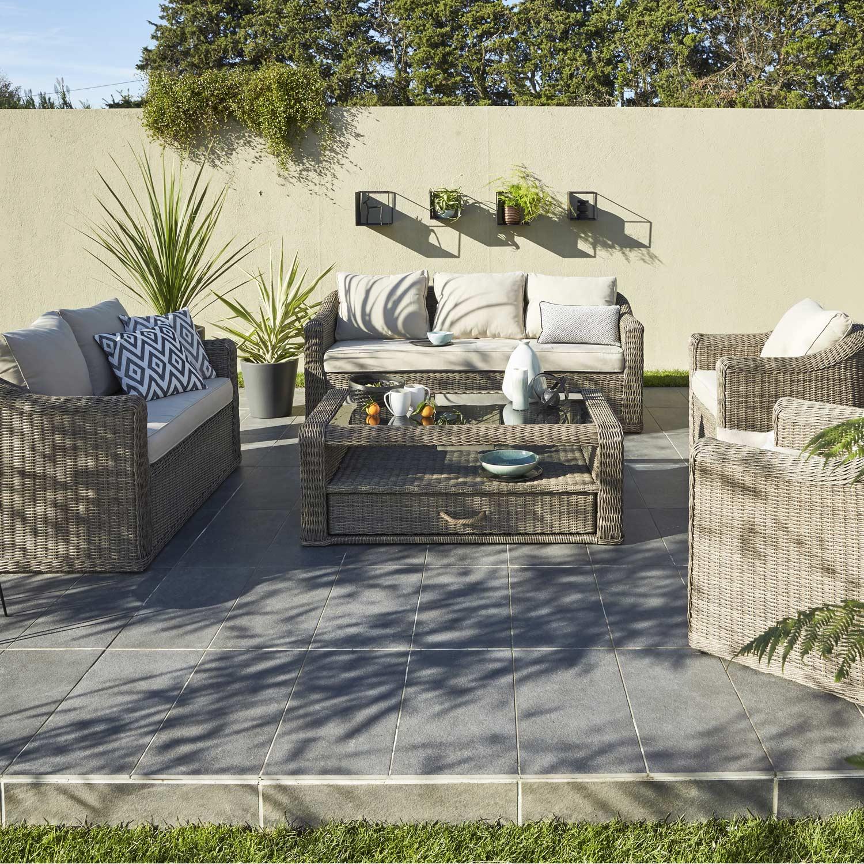 Salon De Jardin En Rotin Gris. Finest Concept Usine Miami Noirgris ...