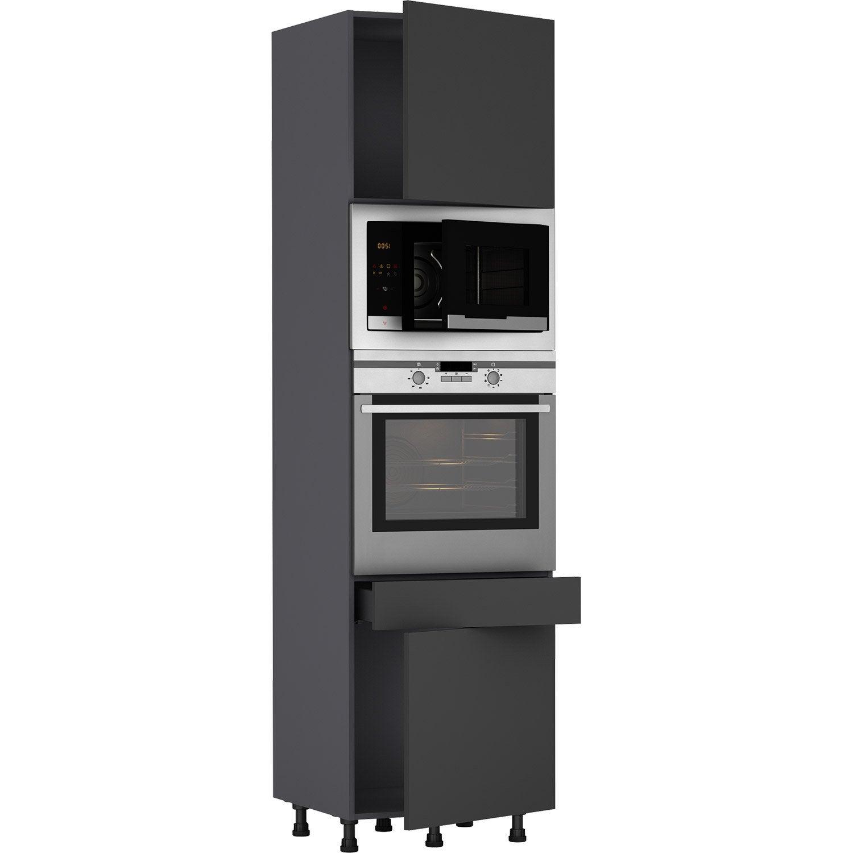 Meuble Colonne Cuisine Leroy Merlin colonne de cuisine sofia gris, 2 portes et 1 tiroir h.215 l.60 cm x p.58 cm