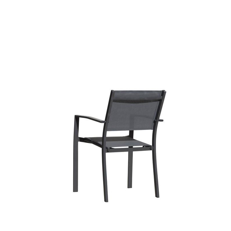 Lot de 2 fauteuils de jardin en textilène Terria pivoine gris ...