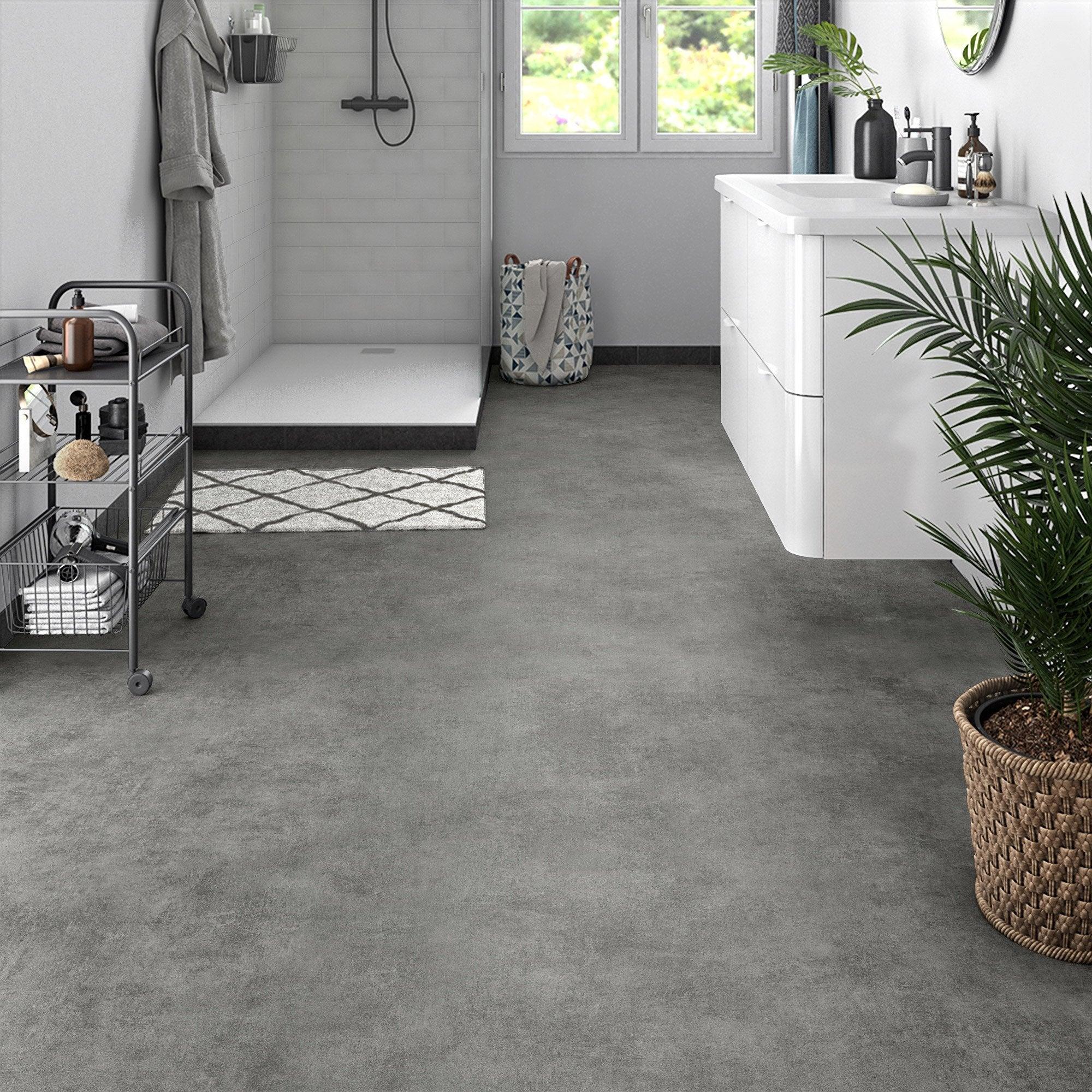 Sol PVC effet béton gris oxyd Livraison incluse l.8 m