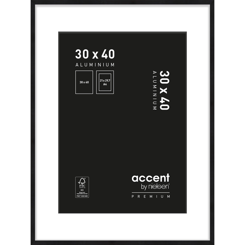 Cadre Accent premium, l.30 x H.40 cm, aluminium noir