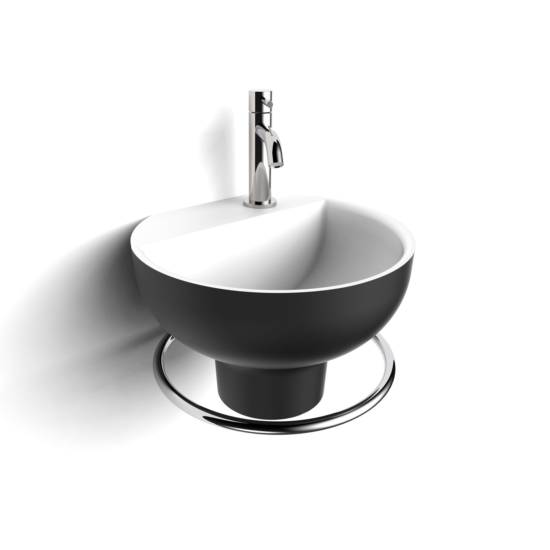 Comment Installer Un Lave Main Avec Meuble lave mains osaka solid surface rond noir l.32.5 x p.30 cm, decotec