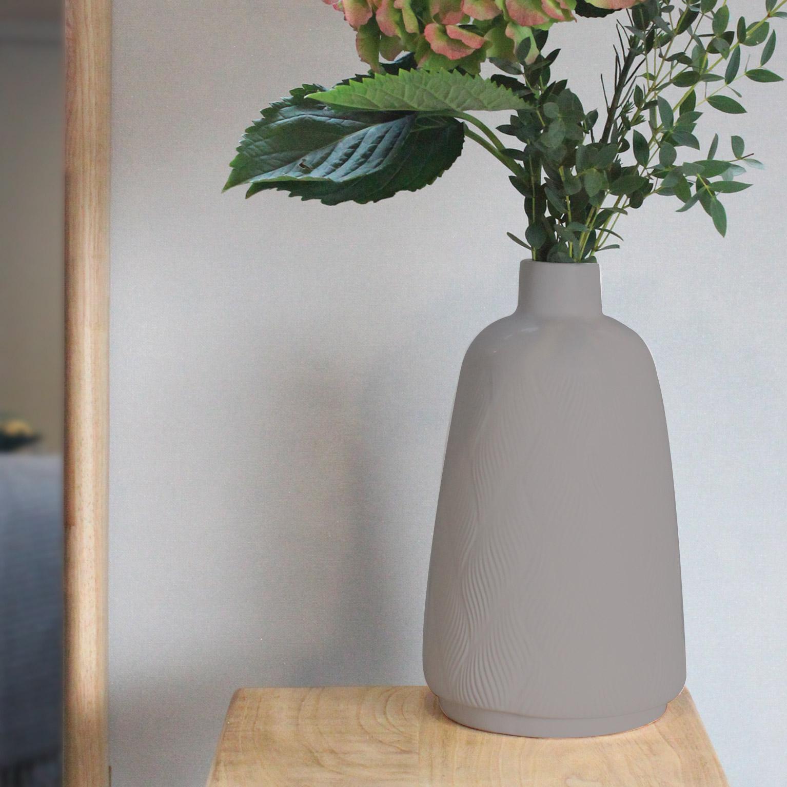 Vase décoratif céramique Arnane, gris / argent, Diam.16 cm x H.28 cm
