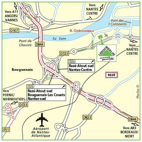 Plan d'accès au magasin Leroy Merlin de Guérande