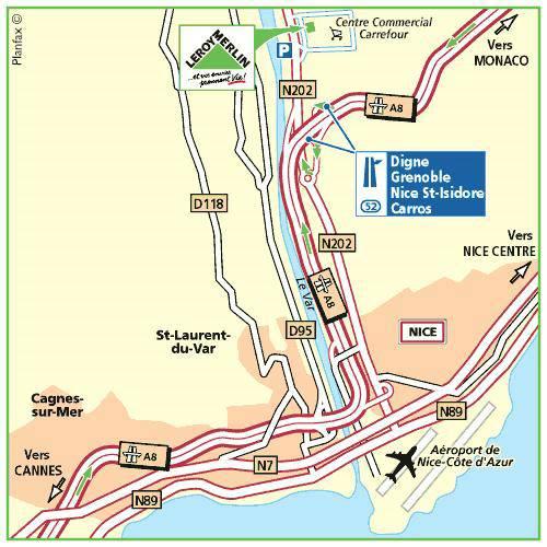 Plan d'accès au magasin Leroy Merlin de Marseille (la valentine)