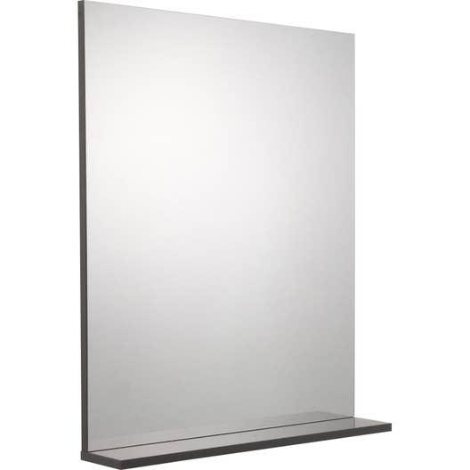miroir avec tablette gris l 60 0 cm opale leroy merlin. Black Bedroom Furniture Sets. Home Design Ideas