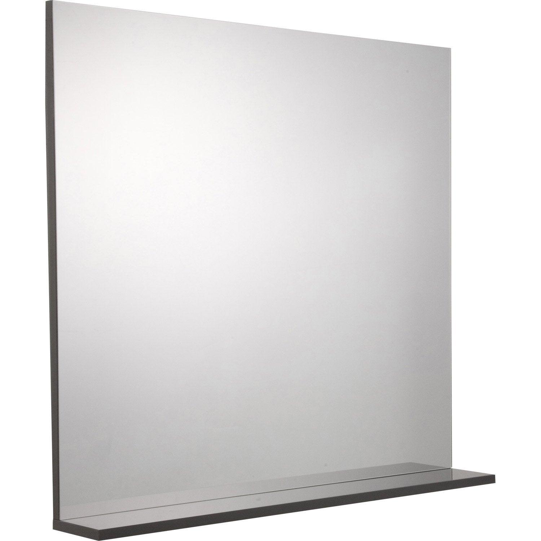 Miroir Avec Tablette Gris, L. 80.0 Cm Opale