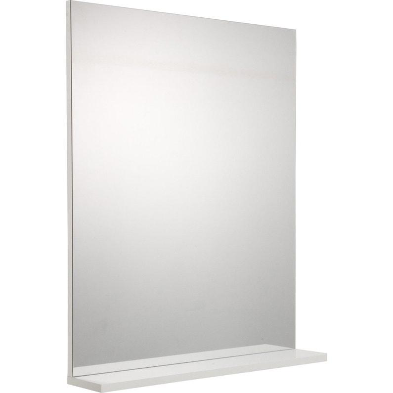 Miroir avec tablette blanc, l. 60.0 cm Opale