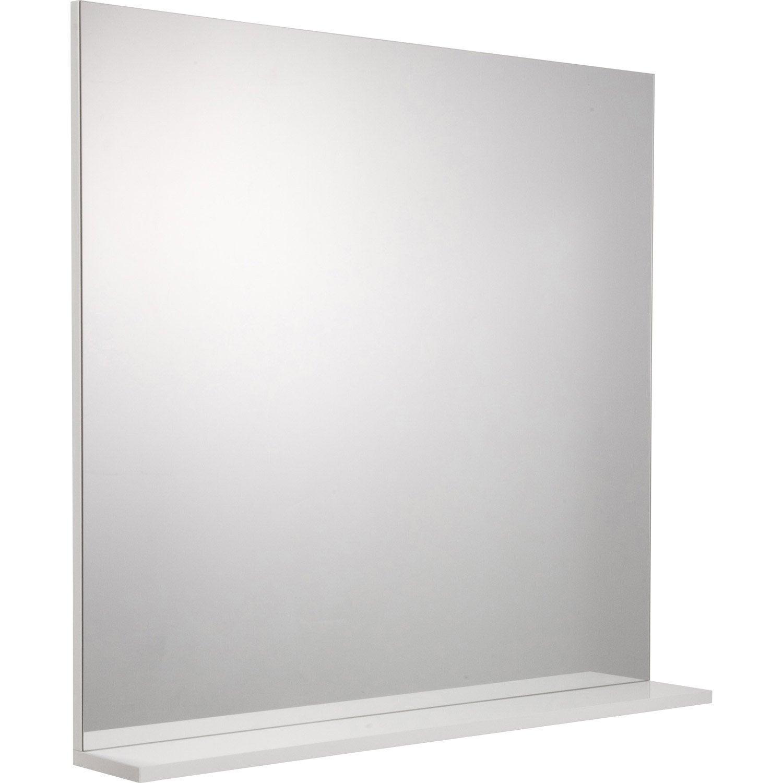 Miroir avec tablette blanc, l. 80.0 cm Opale | Leroy Merlin