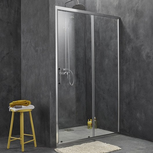 porte de douche coulissante 117 120 cm profil chrom remix2 leroy merlin. Black Bedroom Furniture Sets. Home Design Ideas