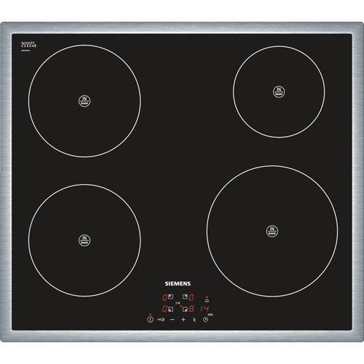 plaque induction 4 foyers miroir noir cadre inox siemens eh645be18e leroy merlin. Black Bedroom Furniture Sets. Home Design Ideas