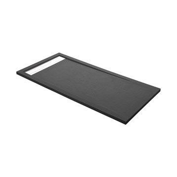 Receveur de douche rectangulaire L.160 x l.80 cm, résine gris Urban