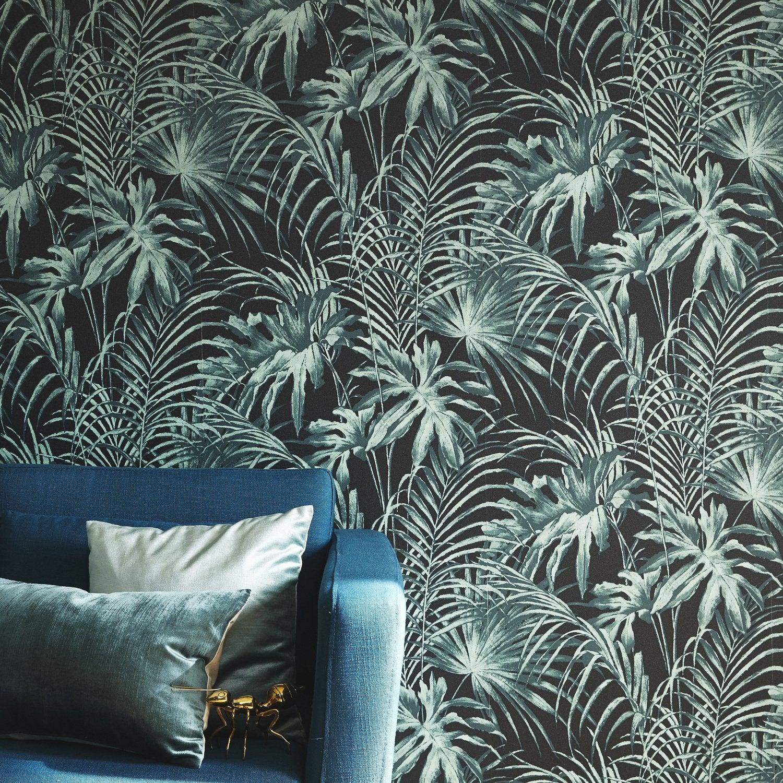 Great tout une ambiance tropicale avec ce papier peint feuillage with papier peint chambre - Leroy merlin pessac ...
