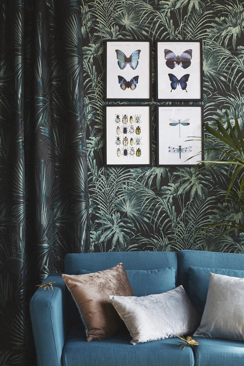des motifs floraux vert et bleu dans votre salon leroy merlin. Black Bedroom Furniture Sets. Home Design Ideas
