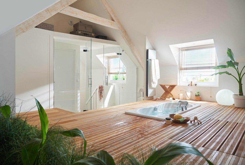un espace zen pour la salle de bains sous les combles. Black Bedroom Furniture Sets. Home Design Ideas