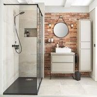 Une salle de bains au style naturel leroy merlin for Salle bain leroy merlin
