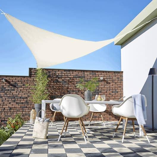 voile d 39 ombrage triangulaire ivoire x cm leroy merlin. Black Bedroom Furniture Sets. Home Design Ideas