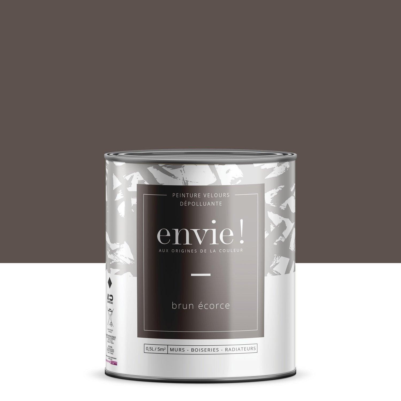 Peinture dépolluante mur, boiserie, radiateur ENVIE brun écorce velours 0.5 l