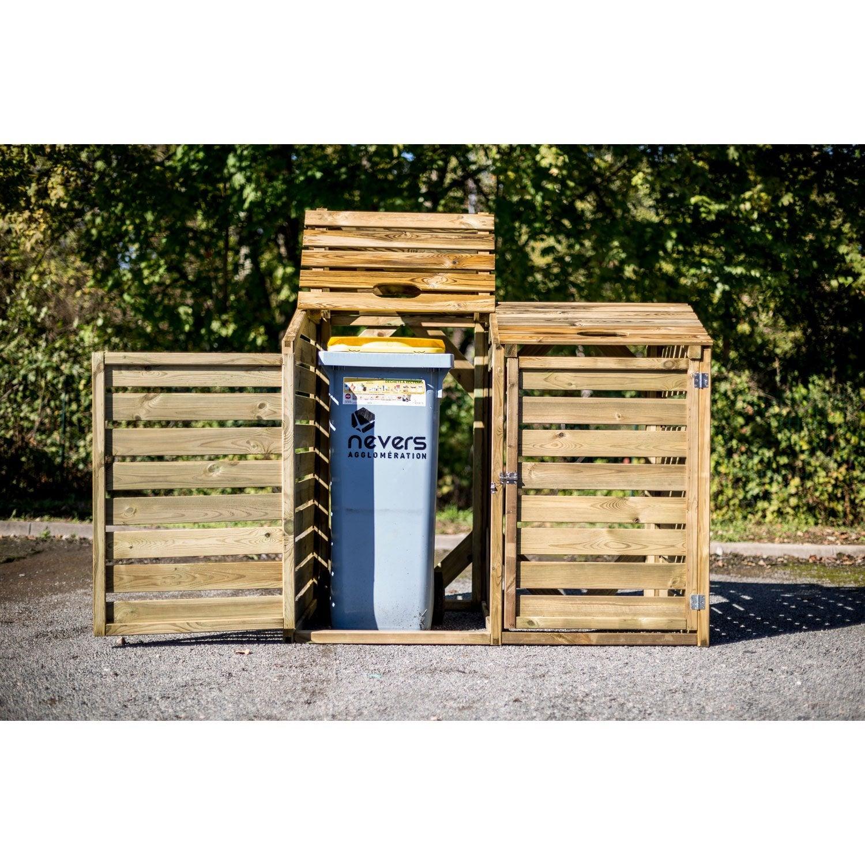 cache-poubelle double bois pin habrita cp15090 l.150 x h.120 x p.90