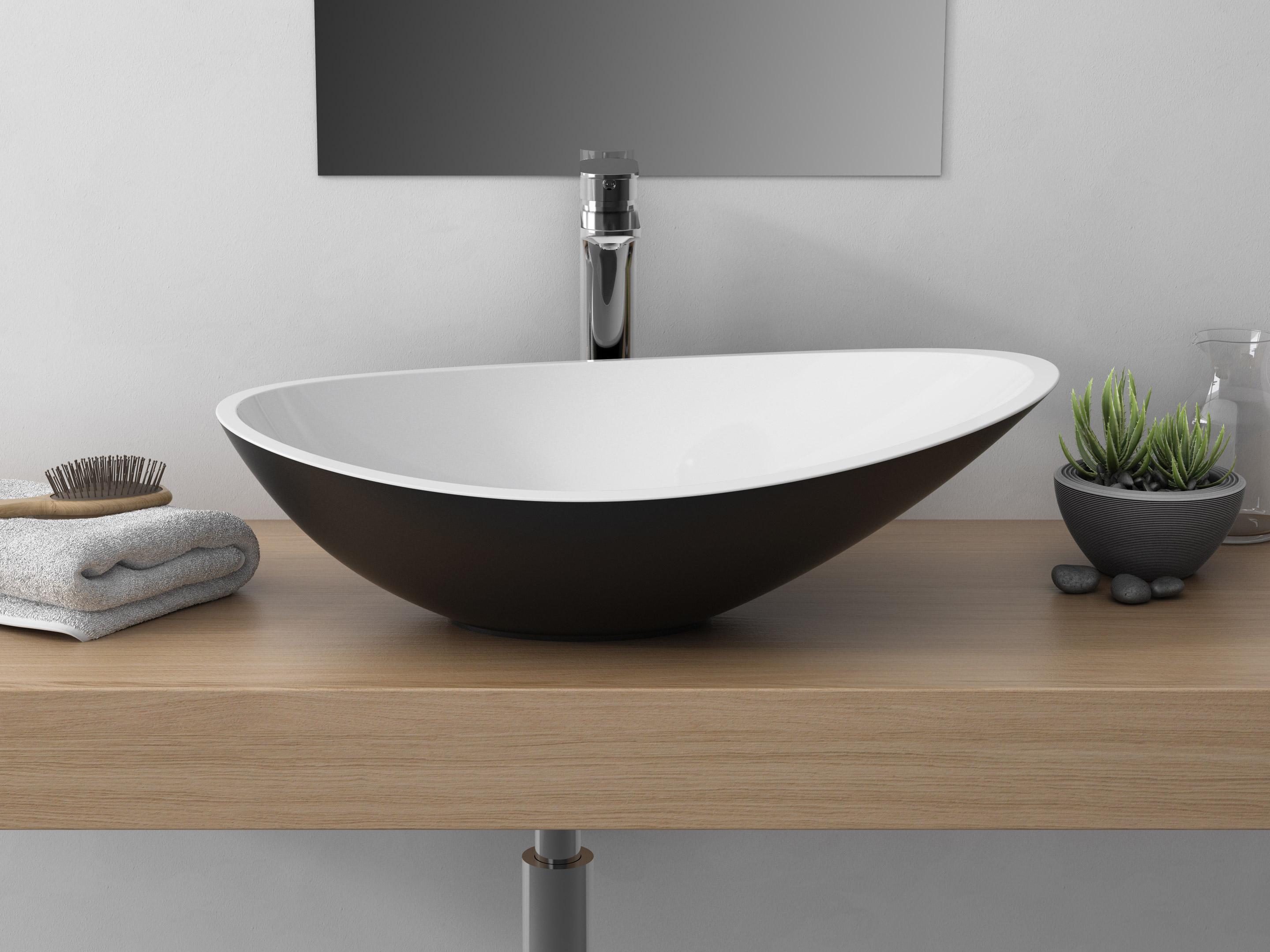 Vasque à poser résine et marbre l.56.4 x P.32.3 cm noir Shila
