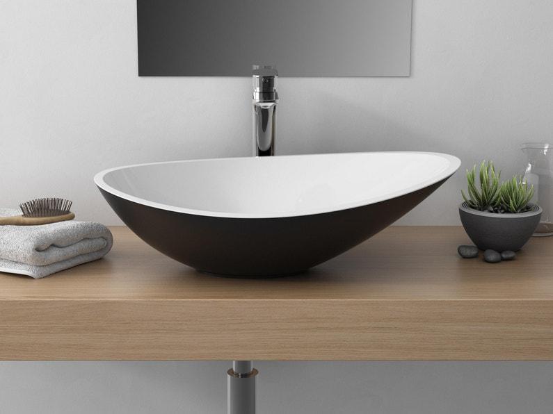Vasque à Poser Résine Et Marbre L564 X P323 Cm Noir Shila