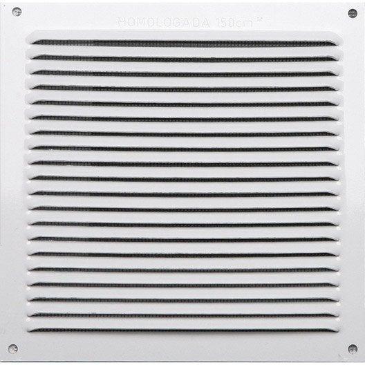 Grille d 39 a ration aluminium laqu x cm leroy for Porte avec grille de ventilation