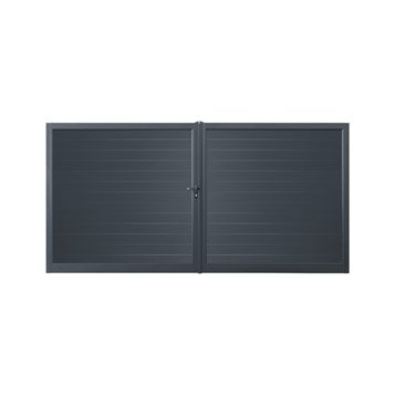 portail battant aluminium valmont gris zingu 350x180cm. Black Bedroom Furniture Sets. Home Design Ideas