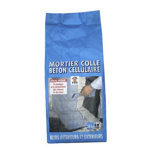 Mortier colle pour b ton cellulaire prb 10 kg leroy merlin for Colle pour fissure beton