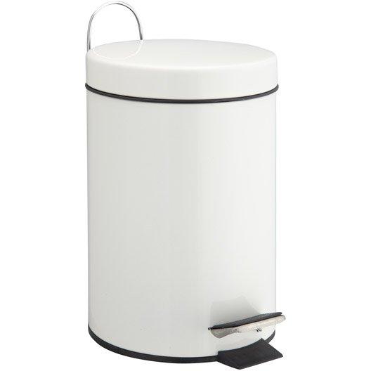 Poubelle de salle de bains 3 l blanc blanc 0 sensea happy - Petite poubelle de salle de bain ...