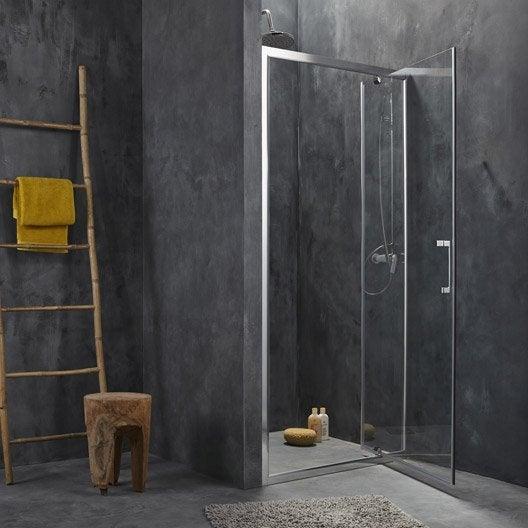 porte de douche pivotante 87 90 cm profil chrom remix2 leroy merlin. Black Bedroom Furniture Sets. Home Design Ideas