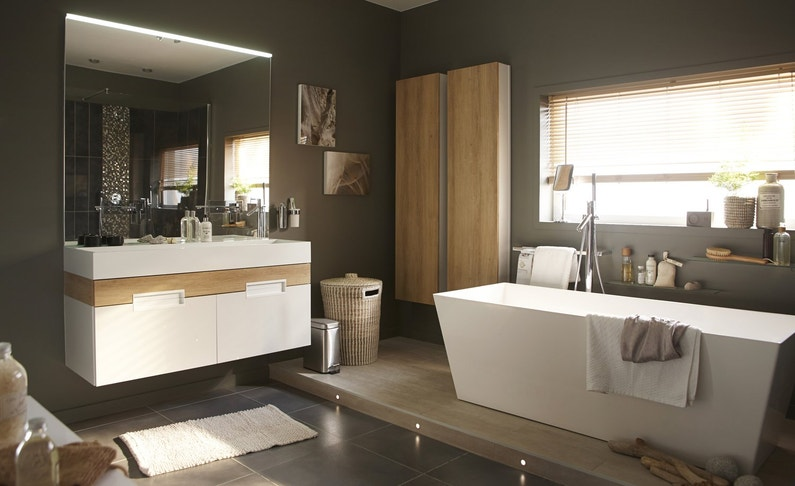 esprit zen dans une salle de bains tout confort leroy merlin. Black Bedroom Furniture Sets. Home Design Ideas