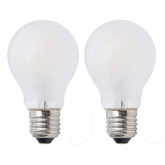 Lot de 2 ampoules filament opaques 7 5w 806lm quiv 60w - Ampoule lumiere noire leroy merlin ...