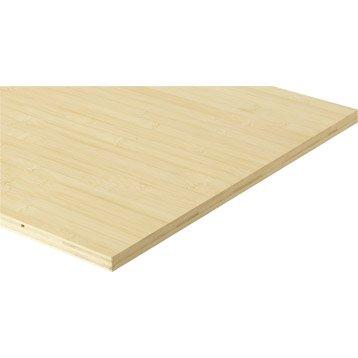 Tablette bambou lamellé collé, L.200 x l.50 cm x Ep.18 mm