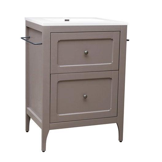 meuble vasque 61 cm taupe ashley leroy merlin. Black Bedroom Furniture Sets. Home Design Ideas