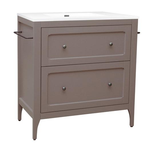 meuble vasque 81 cm taupe ashley leroy merlin. Black Bedroom Furniture Sets. Home Design Ideas