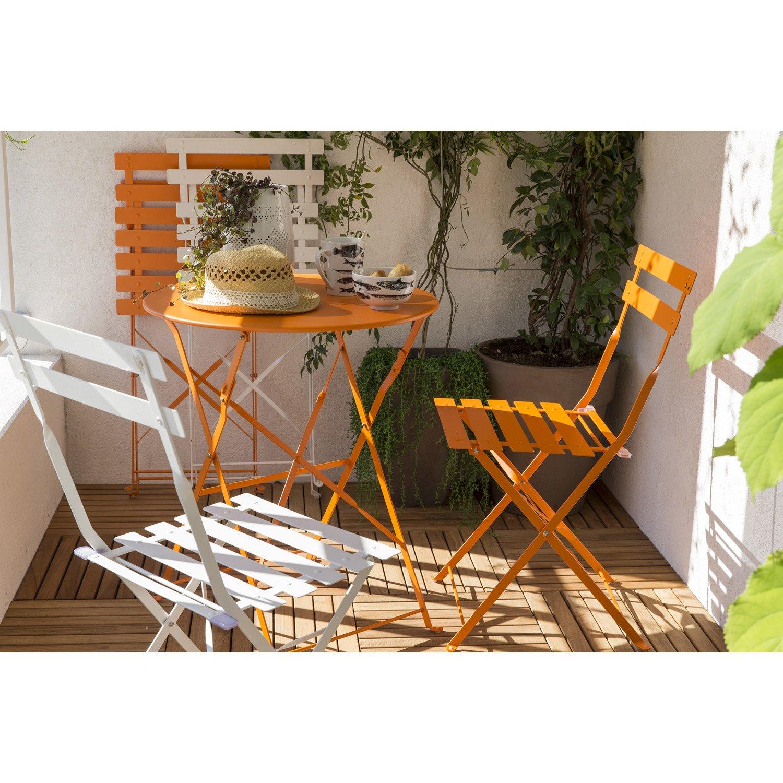 Salon de jardin Flore orange, 2 personnes | Leroy Merlin