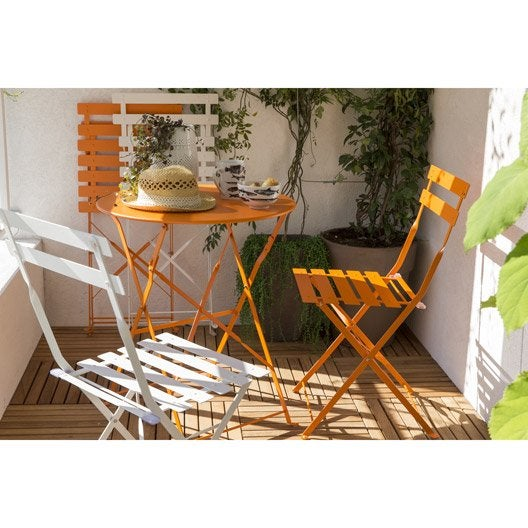 salon de jardin flore orange 2 personnes leroy merlin. Black Bedroom Furniture Sets. Home Design Ideas