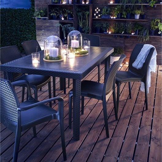 Salon de jardin boh me gris anthracite 6 personnes - Table de jardin qui reste dehors creteil ...