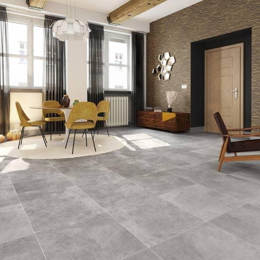 Carrelage sol et mur gris effet pierre Atmosphere l.60 x L.60 cm ...