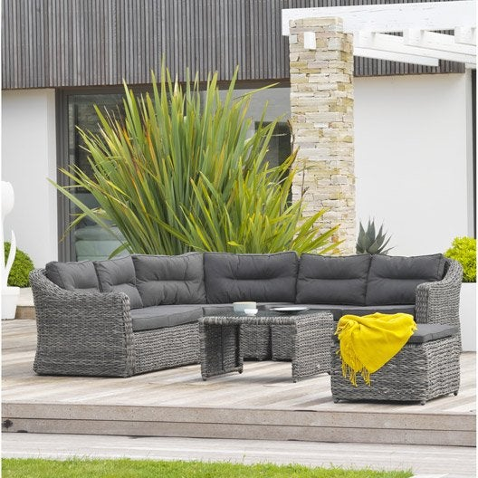 salon bas de jardin bahamas r sine tress e gris 6. Black Bedroom Furniture Sets. Home Design Ideas
