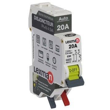 Disjoncteur automatique phase + neutre LEXMAN 20 A