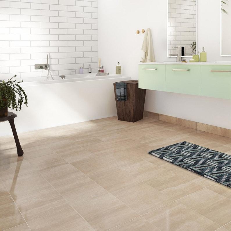 Carrelage sol et mur travertin effet marbre Rimini l.30 x L.30 cm