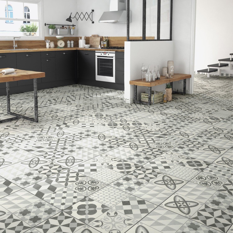 Carreaux De Ciment Parquet Bois une cuisine avec une version carreaux de ciment gris et
