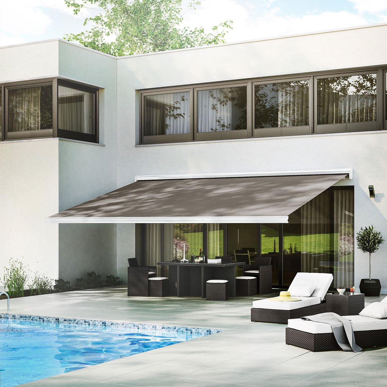 store banne motoris gold coffre int gral 6 x 3 5 m t130 brun taupe n 3 leroy merlin. Black Bedroom Furniture Sets. Home Design Ideas