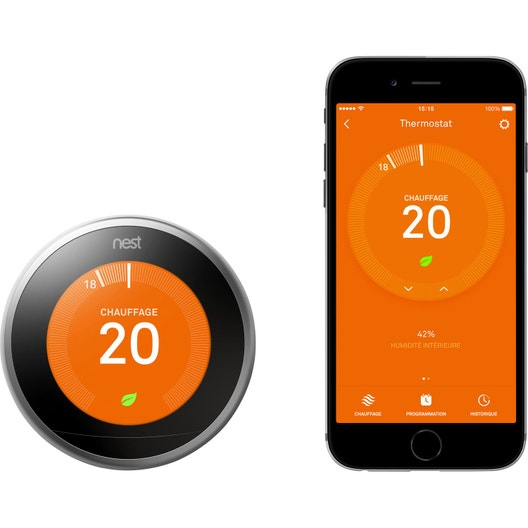 Thermostat connect et intelligent filaire nest learning - Thermostat leroy merlin ...