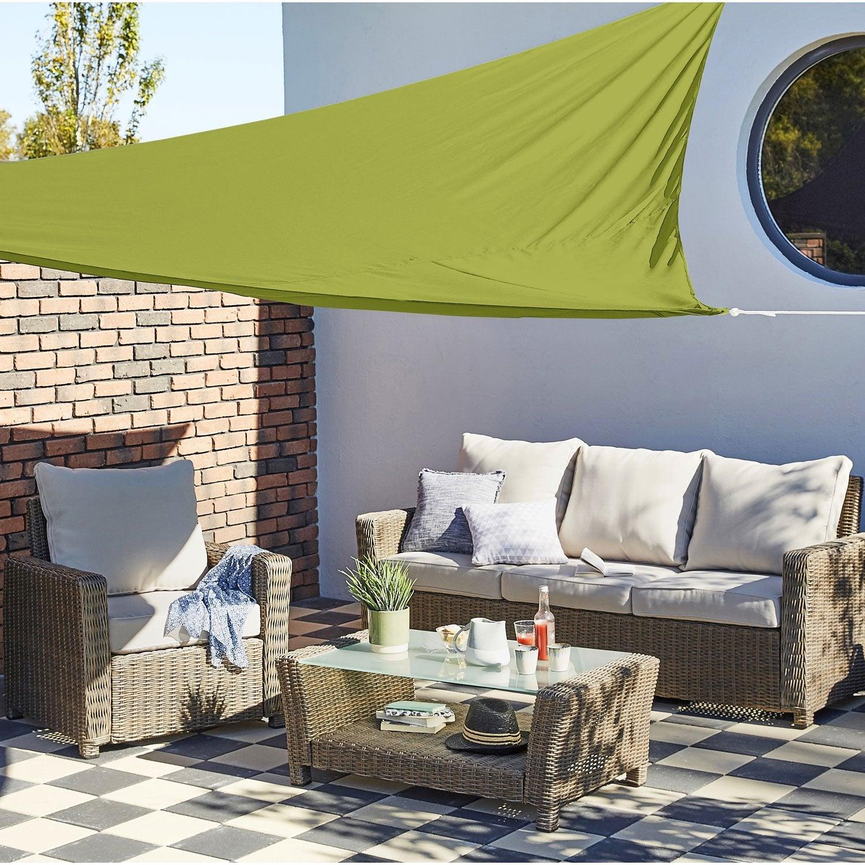 voile d 39 ombrage triangulaire vert jojoba x cm leroy merlin. Black Bedroom Furniture Sets. Home Design Ideas