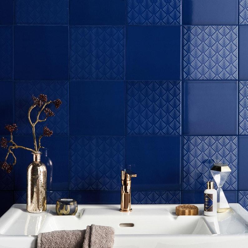 Décor Mur Bleu Nuit Brillant L 19 7 X L 19 7 Cm Astuce Eclat