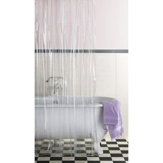 rideau de douche en plastique clear sensea transparent 180 x 200 cm leroy merlin. Black Bedroom Furniture Sets. Home Design Ideas