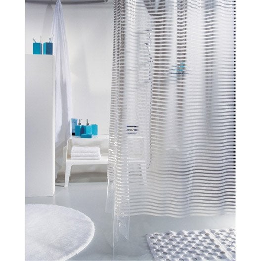 rideau de douche en plastique blanc x cm parallel sensea leroy merlin. Black Bedroom Furniture Sets. Home Design Ideas