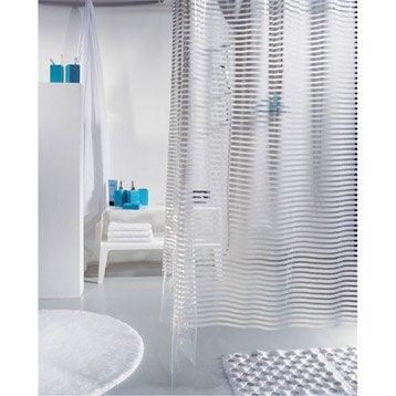 Rideau de douche en plastique blanc l.180 x H.200 cm, Parallel SENSEA